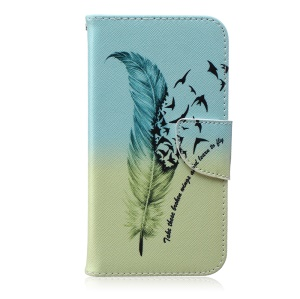 Patterned Leather Wallet Case Shell for Samsung Galaxy J7 SM-J700F - Feather Pattern