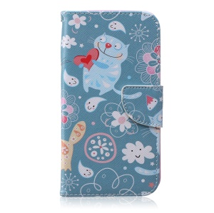 Patterned Leather Cell Phone Case for Samsung Galaxy J7 SM-J700F - Cartoon Cat