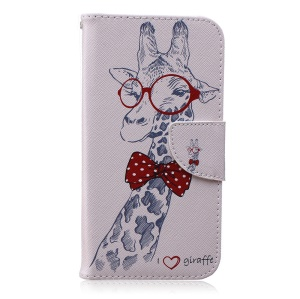 Patterned Leather Cover Card Holder for Samsung Galaxy J7 SM-J700F - Giraffe with Red Glasses