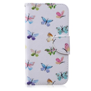 Patterned PU Leather Cover for Samsung Galaxy J7 SM-J700F - Colorful Butterflies