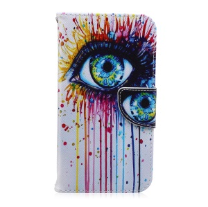 Mobile Casing Patterned Leather Wallet for Samsung Galaxy J7 SM-J700F - Colorized Eye