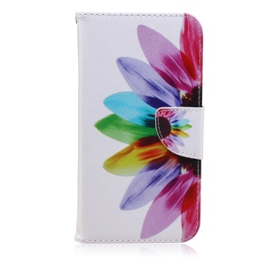 Printing Pattern Magnetic Leather Case for Samsung Galaxy J7 SM-J700F - Colorful Petals