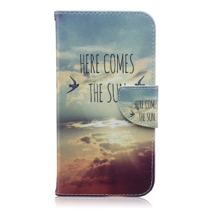 Patterned Leather Case with Wallet Card Slots for Samsung Galaxy J7 SM-J700F - Here Comes The Sun