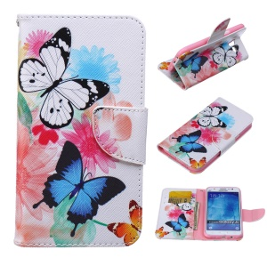 Patterned Leather Wallet Mobile Phone Cover for Samsung Galaxy J5 SM-J500F - Butterflies with Flowers