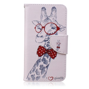 For Samsung Galaxy J5 SM-J500F Patterned Wallet Leather Cellphone Case Mobile Accessory - Giraffe Wearing Glasses