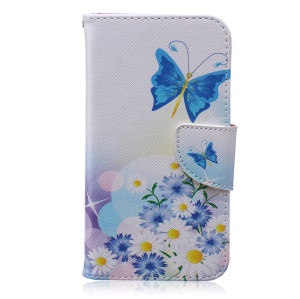 Patterned Wallet Leather Phone Cover for Samsung Galaxy S5 G900 - Butterfly and Daisies