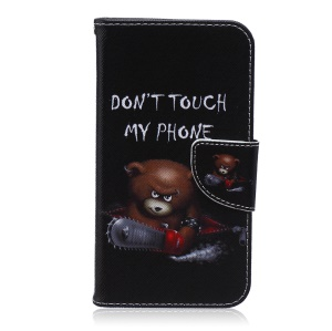 Patterned Wallet Stand Leather Cover for Samsung Galaxy S5 G900 - Angry Bear and Waring Words
