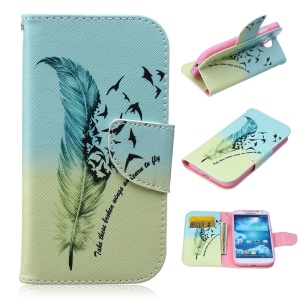 Patterned Wallet Leather Case for Samsung Galaxy S4 I9500 I9502 I9505 - Feather and Flying Birds