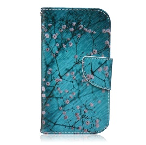 Patterned Wallet Leather Mobile Cover for Samsung Galaxy S4 I9500 I9502 I9505 - Pink Floret