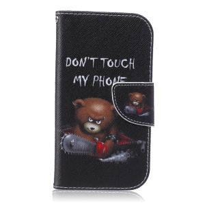 Patterned Wallet Leather Shell for Samsung Galaxy S4 IV I9500 - Bear and Do Not Touch My Phone