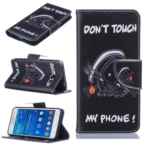 Patterned Leather Wallet Case for Samsung Galaxy Grand Prime SM-G530 - Warning Words and Comic Figure