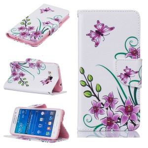 Patterned Leather Wallet Mobile Case for Samsung Galaxy Grand Prime SM-G530 - Purple Flower and Butterfly