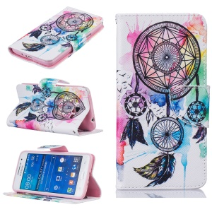 Patterned Leather Wallet Protective Case for Samsung Galaxy Grand Prime SM-G530 - Colored Dreamcatcher