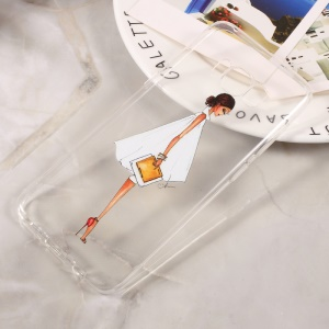 Patterned Clear TPU Shell for Samsung Galaxy S8 - Fashion Girl Holding Bag