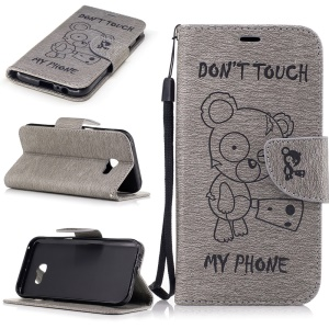 Imprint Bear Pattern Leather Wallet Phone Cover for Samsung Galaxy A5 (2017)  - Grey