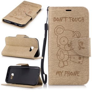 Imprint Bear Pattern Leather Wallet Phone Stand Cover for Samsung Galaxy A5 (2017)  - Khaki