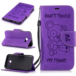 Imprint Bear Pattern Leather Wallet Phone Protector Cover for Samsung Galaxy A5 (2017)  - Purple