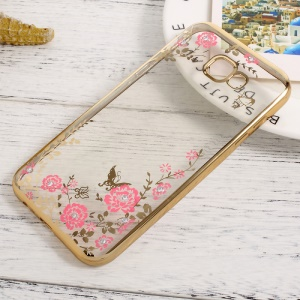 Flower Butterfly Diamond TPU Skin Plating Cover for Samsung Galaxy A3 (2017) - Gold