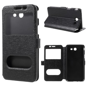 Silk Texture Dual Window Leather Case for Samsung Galaxy J3 Emerge/J3 Prime/J3 (2017) - Black
