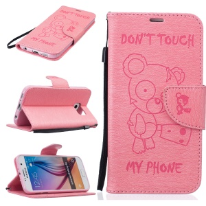Imprint Printing Bear Leather Wallet Stand Cover for Samsung Galaxy S6 G920 - Pink