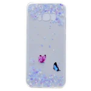 Pattern Printing Soft TPU Shell Case for Samsung Galaxy S8 - Flowers Butterfly