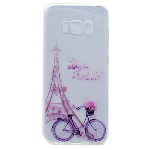 Pattern Printing Soft TPU Shell for Samsung Galaxy S8 - Eiffel Tower and Bicycle