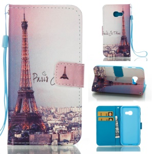 Mobile Case Patterned Leather Wallet for Samsung Galaxy A3 (2017) - Paris Eiffel Tower