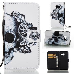 Pattern Printing Wallet Leather Case for Samsung Galaxy A3 (2017) - Skull with Roses