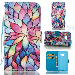 Pattern Printing Leather Wallet Shell for Samsung Galaxy A3 (2017) - Colorful Petals