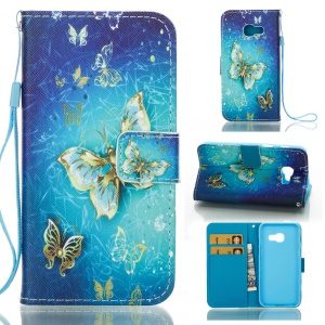 Magnetic Leather Wallet Patterned Case for Samsung Galaxy A3 (2017) - Golden Butterflies