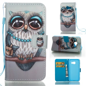 Printing Pattern Leather Mobile Phone Case for Samsung Galaxy A3 (2017) - Owl Lady