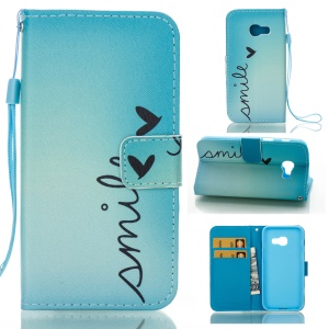 Wallet PU Leather Patterned Case for Samsung Galaxy A3 (2017) - Smile and Butterfly