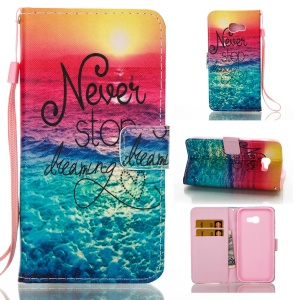 Pattern Printing Leather Wallet Case for Samsung Galaxy A5 (2017) - Quote Never Stop Dreaming