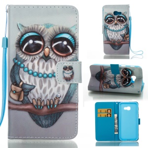 Pattern Printing Leather Wallet Cover for Samsung Galaxy A5 (2017) - Owl Pattern