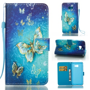 Pattern Printing Leather Card Holder Case for Samsung Galaxy A5 (2017) - Vivid Butterflies