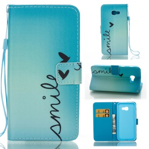 Pattern Printing Wallet Leather Stand Cover for Samsung Galaxy A5 (2017) - SMILE Pattern