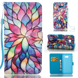 Pattern Printing Leather Mobile Phone Case for Samsung Galaxy A5 (2017) - Colorful Flowers
