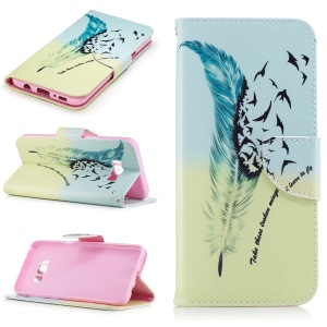For Samsung Galaxy S8 Plus Pattern Printing Leather Wallet Stand Cover - Feather and Birds