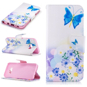 Pattern Printing Leather Wallet Flip Case with Stand for Samsung Galaxy S8 Plus - Flowers and Blue Butterfly