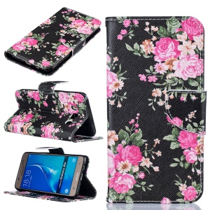 For Samsung Galaxy J5 (2016) SM-J510 Patterned Flip Leather Wallet Case - Blooming Peony Flowers
