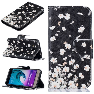 Patterned Wallet Leather Mobile Cover for Samsung Galaxy J3 (2016) / J3 - Flying White Flowers