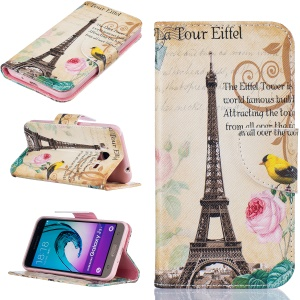 Pattern Printing Wallet Leather Protective Case for Samsung Galaxy J3 (2016) / J3 - Eiffel Tower