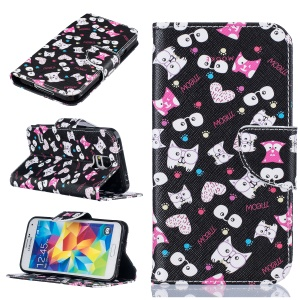 Pattern Printing Wallet Leather Stand Case for Samsung Galaxy S5 SM-G900 - Cartoon Pattern