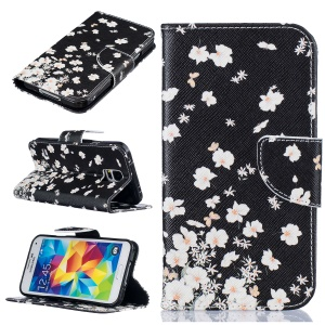 Pattern Printing Wallet Leather Stand Cover for Samsung Galaxy S5 SM-G900 - White Flowers