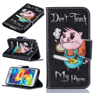Pattern Printing PU Leather Wallet Case for Samsung Galaxy S5 SM-G900 - Cute Pig
