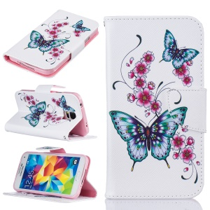 Pattern Printing Leather Phone Case with Stand for Samsung Galaxy S5 SM-G900 - Butterflies and Flowers