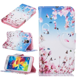 Pattern Printing Leather Protection Case with Stand for Samsung Galaxy S5 SM-G900 - Peach Blossom