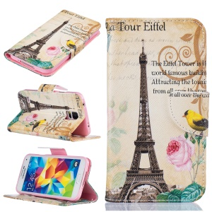 Pattern Printing Folio Leather Wallet Case for Samsung Galaxy S5 SM-G900 - Eiffel Tower and Flower