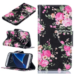 Pattern Printing Leather Card Holder Case for Samsung Galaxy S7 SM-G930 - Vivid Flowers