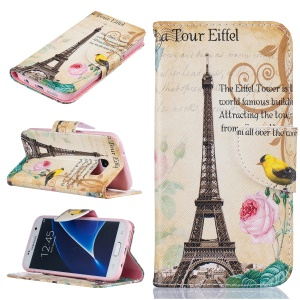 Pattern Printing Magnetic Leather Stand Case for Samsung Galaxy S7 SM-G930 - Eiffel Tower and Flower